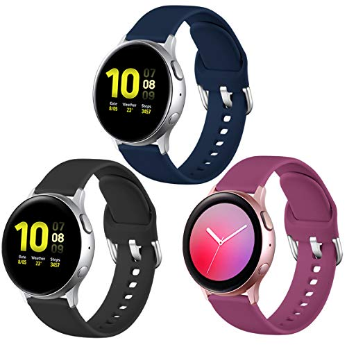 Lerobo Compatible with Samsung Galaxy Watch Active 2 Bands 40mm 44mm, Galaxy Watch 3 Bands 41mm, Active Bands, Galaxy Watch Bands 42mm, 20mm Silicone Bands Sport Replacement Strap,3 Pack,Small