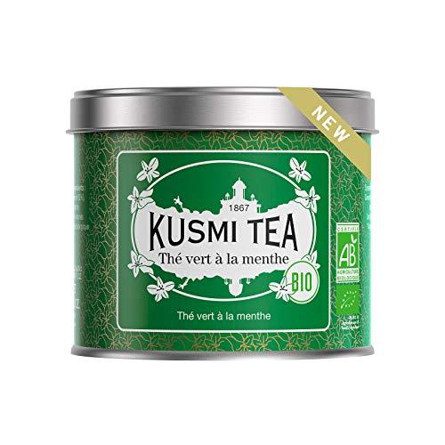 Kusmi Tea Grüner Tee mit Minze BIO- Heiß oder Eisgekühlt Genießen - Traditionell Durstlöschender Tee mit Gunpowder Grüntee und Minzblättern - 100 g Metall Teedose (etwa 40 Tassen)