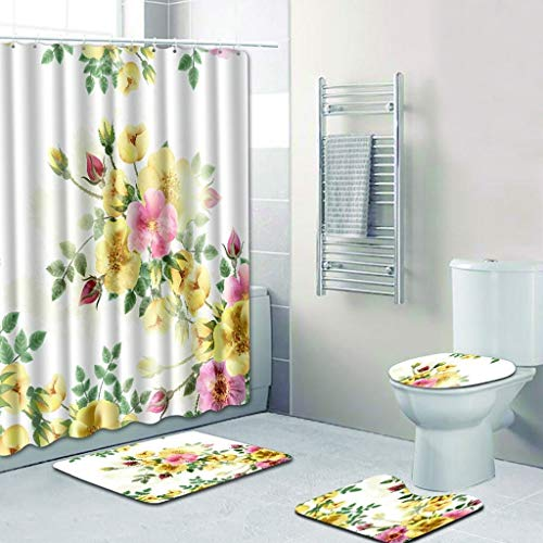 WBFN Tapa del Inodoro 4 PCS, Antideslizante higiénico poliéster Cubierta Mat Conjunto de alfombras de baño Cortina de Ducha de Asiento de Inodoro del baño Cushion Cojín de Accesorios (Color : E)