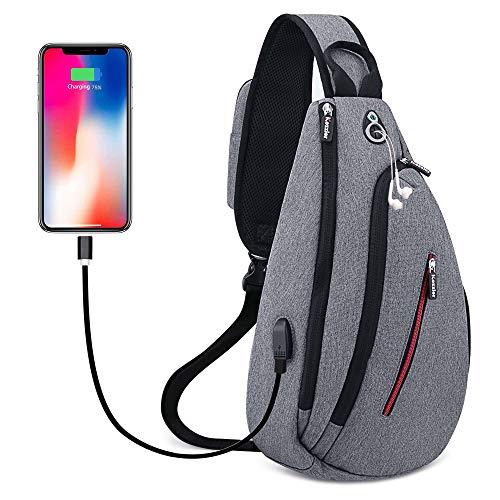 iCozzier - Zaino a tracolla, impermeabile, multiuso, antifurto, per viaggi, sport, palestra, casual, con porta di ricarica USB e foro per cuffie, colore: grigio