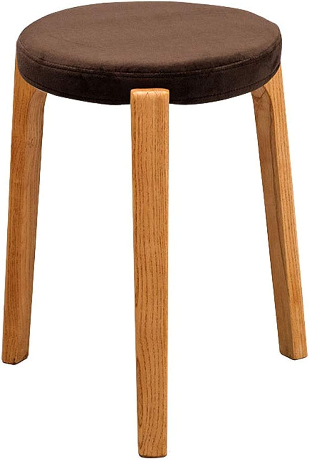 Footstools Solid Wood Stool Chair Brown Fabric Round Dressing Stool Seat Three Leg Support Living Room Dining Stool (color   A)