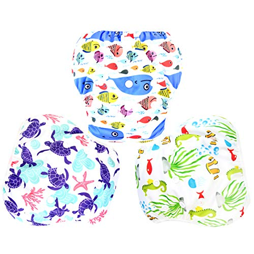 Langsprit 3 Pack Swim Diaper for Baby & Toddle,Reuseable Washable Diaper Swim for Swimming Lesson & Baby Shower Gifts (L, Underwater World)