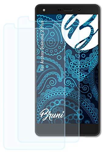 Bruni Schutzfolie kompatibel mit Archos Diamond 2 Plus Folie, glasklare Bildschirmschutzfolie (2X)