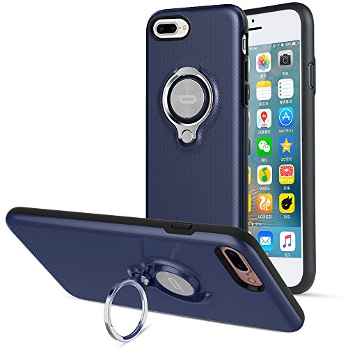 ICONFLANG iPhone 8 Plus Case, iPhone 7 Plus Case, 360 Degree Rotating Ring Kickstand Case Shockproof Impact Protection [Support Magnetic Car Mount Case] for iPhone 8 Plus / 7 Plus (2018) - Navy