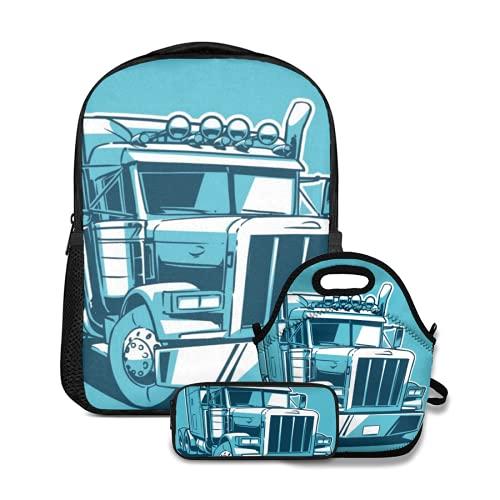 Conjunto de mochila escolar,Remolque Camión Americano Clásico Dibujos Animados Duotono Tractor Semi Grande,con bolsa de almuerzo y estuche para lápices para mochila para adolescentes