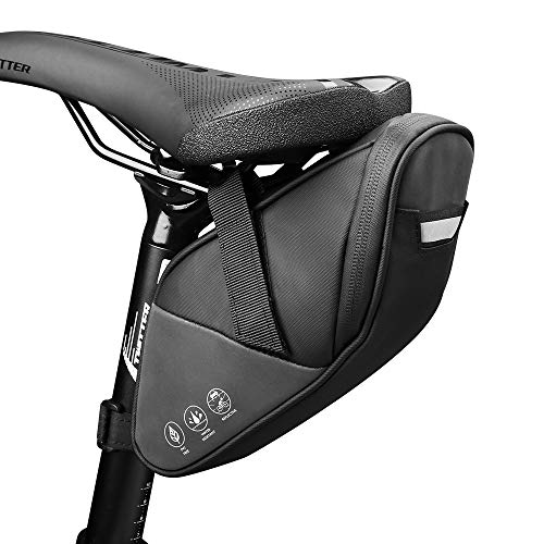 自転車 サドルバッグ Yblntek 自転車バッグ 防水 大容量 小物収納 ロードバイクバック シートバッグ ストラップ式 装着便利 反射材付き サイクリング用 ブラック