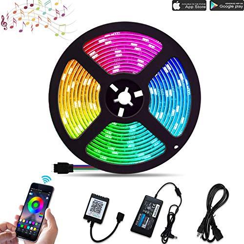 Tiras LED RGB 5050 32.8ft/10M*1 Luces LED Música Tira Led Tiras LED para TV 24V 300 Leds Tira de Luz Autoadhesiva Control vía APP con Controlador + Cargador para Cocina Fiestas Bar Fiesta