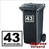 Mülltonnen Aufkleber 'Hausnummer & Straße' oder auch Nachname, Aufkleber aus Hochleistungsfolie, Hausnummer, Mülltonne, Mülleimer, viele Farben zur Auswahl, klebt auf allen glatten...