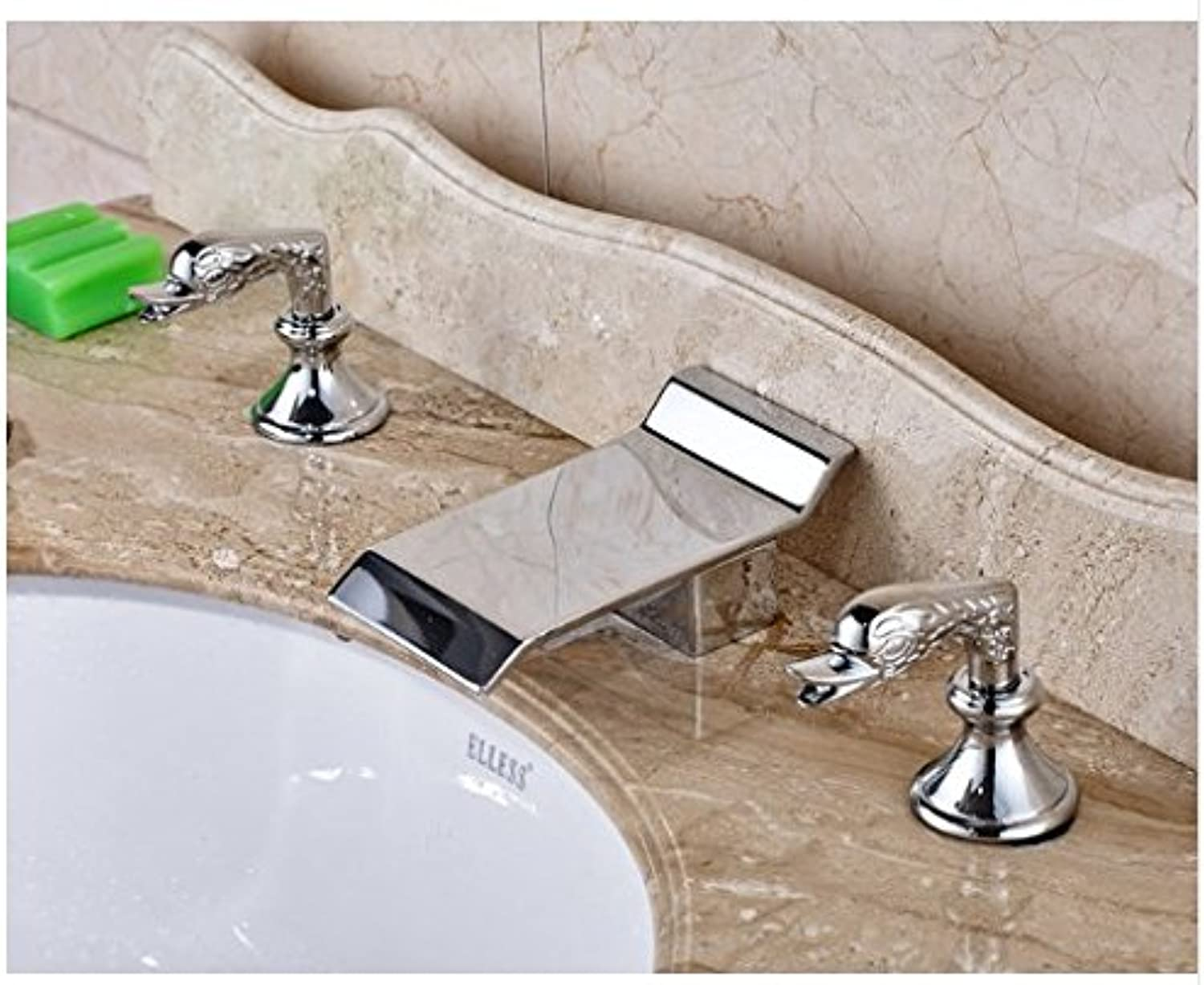 Gowe? Deck Mounted Dual Handles Bathroom Sink Faucet Widespread 3pcs Mixer Tap Chrome Polished