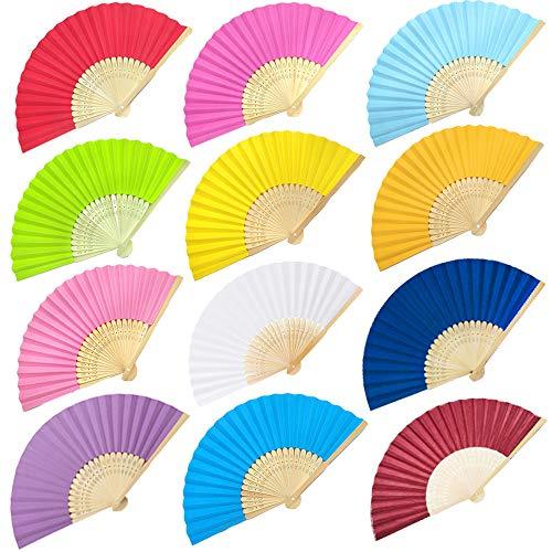 Nsiwem 12 piezas abanicos de Mano de Tela de bambú abanicos Plegables Abanicos boda para invitados Abanicos Plegables de Mano para Regalos de Boda decoración de Bricolaje(12 Colores)
