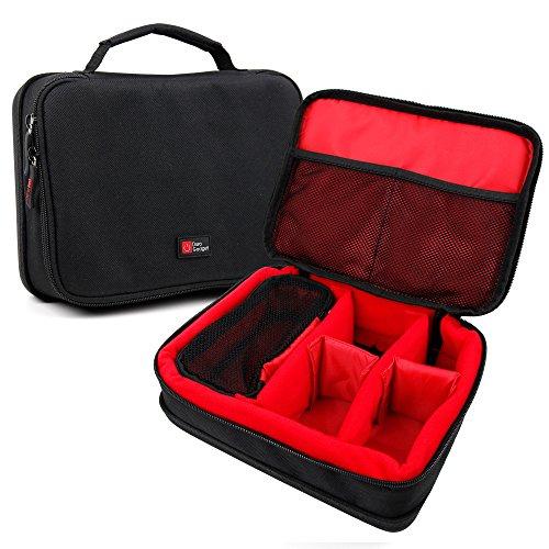 DURAGADGET Bolsa Acolchada Profesional Negra con Compartimentos e Interior en Rojo para cámaras Deportivas Samsung Gear 360 / Ricoh WG-M2 / Gearmax W8 WiFi/SJCAM SJ5000 Plus