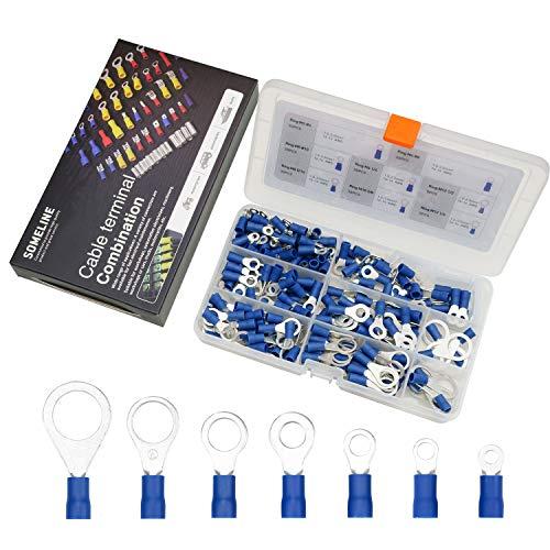 Kabelschuhe Stoßverbinder Kit Isolierte RingKabelschuhe Steckverbinder Quetschverbinder Anschlussklemmen kabelverbinder für 1.5-2.5 mm² Kable SOMELINE Ring Kabelschuhe 210 Stück in 7 Modell