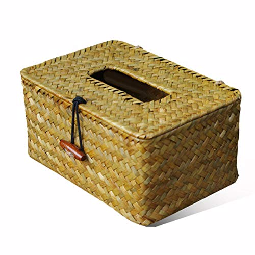 GSDJU Soporte de Papel de Seda Vintage Caja de pañuelos Tejida de Paja Artesanal Servilletero Cajas de Almacenamiento de pañuelos Caja organizadora de contenedores de servilletas