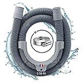 Electroo - Manguera de desagüe para lavadora – Extensión flexible para lavadora o lavadora, fácil de instalar – Evacuación universal, culata extraíble y abrazadera de acero inoxidable incluida (2,5 m)
