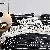 OTOB Bohemian Bedding Sets Twin Duvet Cover Set Black White 2 Pillowcases and 1 Duvet Cover (Twin Bed, Reversible Cartoon Arrow Herringbone Print)