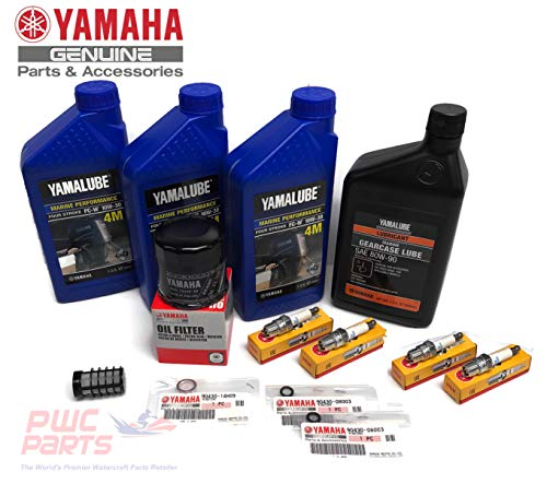 YAMAHA 2004-2005 F60 T60 OEM Oil Change 10W30 FC 4M Lower Unit Gear Lube Drain Fill Gasket Spark Plugs NGK DPR6EB-9 Primary Fuel Filter Maintenance Kit