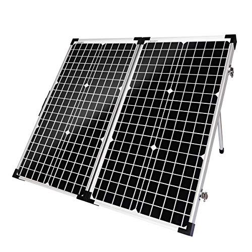 SARONIC Panel solar portátil plegable de 60 W y 12 V con un controlador de carga solar de 10 A para caravanas, barcos o cualquier otra actividad al aire libre