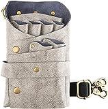 HMEILI Bolso de la Cintura Barber Funda de Cuero Bolsa de Bolsa Remache de Las Bolsas de la Tijera de los Cabello Clips de la Cintura del Hombro cinturón Bolsillo (Color : Grey)