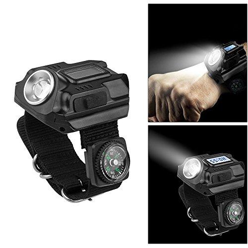Donpow LED Taschenlampe Uhr, wiederaufladbare wasserdichte Uhr mit Armbanduhr, 4 Beleuchtungsmodi, Zeitanzeige, Kompass, Uhr Licht für Nachtwandern, Laufen, Angeln