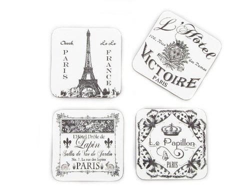 4 Stück Set Shabby Vintage Untersetzer Paris Retro Glasuntersetzer aus Holz Impression