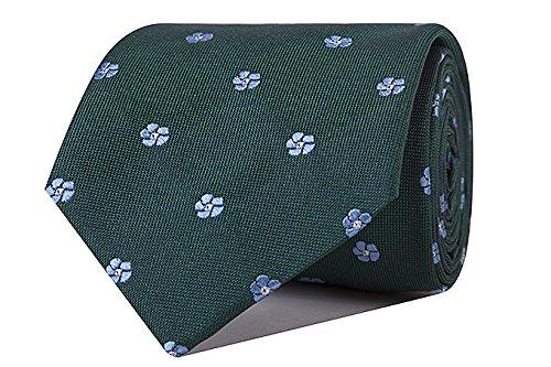 Sologemelos - Cravate Jacquard Fleurs - Vert 100% soie naturelle - Hommes - Taille Unique - Confection artesanale Made In Italy