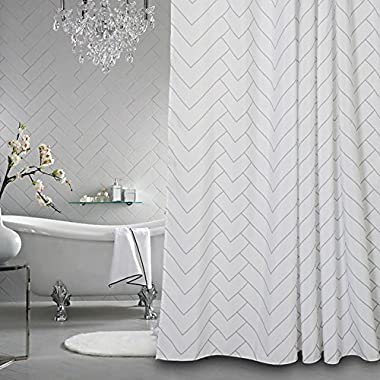 Aimjerry Hotel Quality White Striped Mold Resistant Fabric Shower Curtain for Bathroom,Water-Repellent 72 X 72 Inch