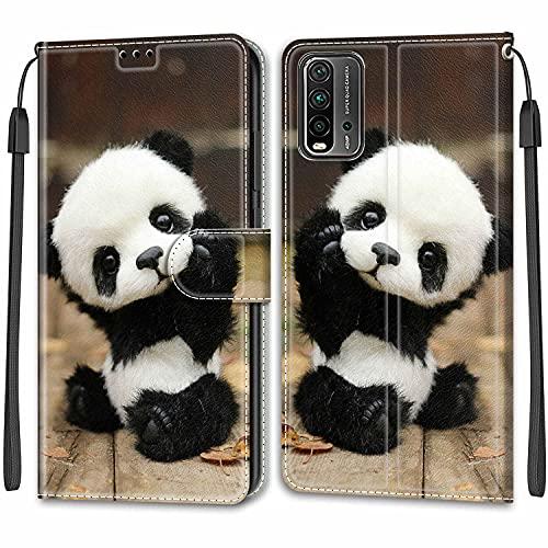 iCaseU Carcasa para Xiaomi Redmi 9 Power Flip Cover, Patrón PU Cuero Funda,Cubierta de Ranuras para Tarjetas,Caja Soporte con Cierre Magnético Caso teléfono para Xiaomi Redmi 9 Power,Panda Bebé