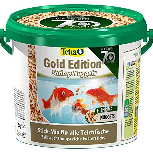 Tetra Pond Gold Edition Shrimp Nuggets - Fischfutter mit einem Mix aus 2 verschiedenen Sticks, ideal für alle Teichfische, 5 L Eimer