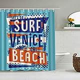 QINCO Duschvorhang,Buchstaben Surf Venice Beach,personalisierte Deko Badezimmer Vorhang,mit Haken,180 * 210