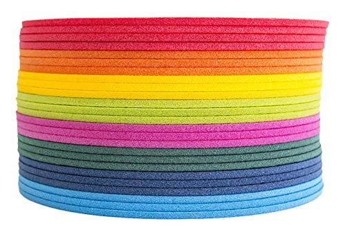 Set 24 stuks schuimrubber zitkussens kinderen zitonderlegger waterdicht rond met handvat 35 x 35 cm regenboogkleuren voor kleuterschool ochtendcirkel, scholen, bosplatform
