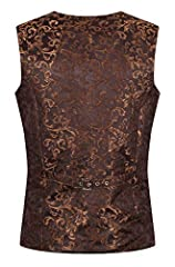 Ro Rox Men's Tailored Gothic Steampunk Brocade Waistcoat - Brown (X-Large) #1