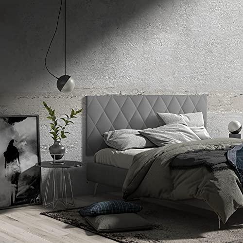 MOMMA HOME Cabecero de Cama en Polipiel - Modelo Calor- Cabecero tapizado en ecopiel - Cabecero Acolchado - Incluye herrajes para Colgar - Cabezal para Cama Dormitorio (Gray, 150 x 60 cm)