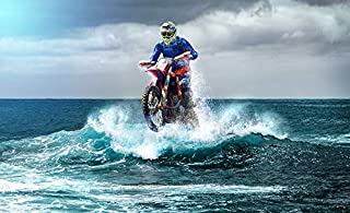 11 x 14 252 Pc Puzzle Motocross Riding The Big Ocean Wave Fantasy Art