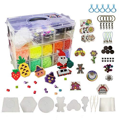 N / A 24000 Bügelperlen DIY Superwert Set, 5mm 24 Farben Steckperlen, Kindergeschenk mit Stiftplatte farbigen Papiervorlagen und Aufbewahrungsbox