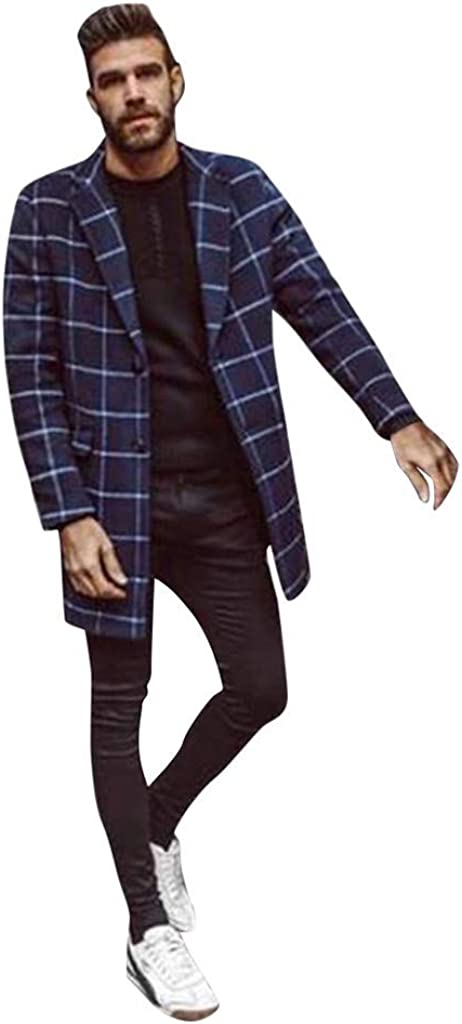 Mens Winter Slim Trench Coat Checkered Single Breasted Warm Woolen Jacket Long Overcoat Turn Down Collar Outerwear
