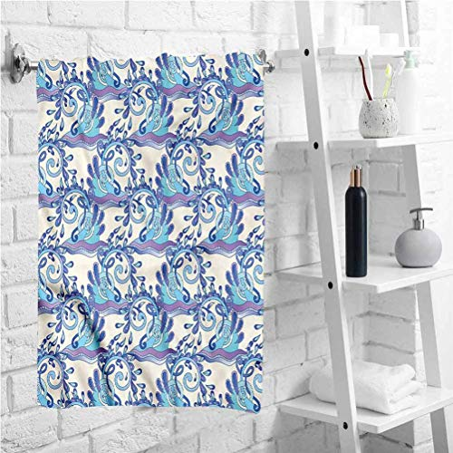 W 12 X L 28 inch Pattern Towel Abstract Blue Waves Drops,Quick Dry Absorbent Bath Towel for Kids,Best Lightweight Towel for The Swimming,Sports,Beach