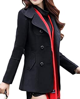 Miracle Mens Pea Coat Double Breasted Overcoat Plaid Wool Blend Trenchcoat Overcoat