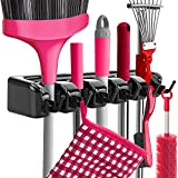 Mop Broom Holder Wall Mounted Kitchen Hanging Garage Utility Tool Organizers and Storage Rack For Commercial Bathroom Laundry Room Closet Gardening (Black)