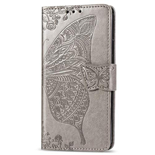 Schutzhülle für Nokia 5.4, stoßfest, PU-Leder, Klappdeckel, Schmetterling, Notizbuch, Geldbörse, mit Magnetverschluss, Ständer, Kartenhalter, Ausweisfach, weiche TPU-Stoßdämpfer, für Nokia 5.4, Grau