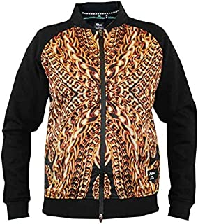 D555 New Mens Bomber Jacket Sweat Zip Through Black Gold Chains Graphic Print 132073