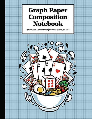 Graph Paper Composition Notebook Quad Rule 5x5 Grid Paper | 150 Sheets (Large, 8.5 x 11'): Ramen Playing Cards