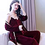 FYMIJJ Albornoces de Invierno,3pc / Set Pijamas de Mujer Ropa de Dormir Conjunto de Pantalones de Bata de Sol de Invierno Cálido de Manga Larga de Terciopelo Traje de camisón Femenino Alborn