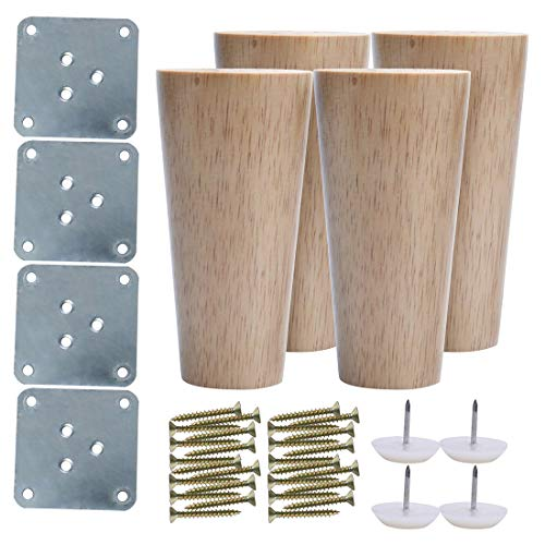 sourcing map 5 Inch Round Wood Furniture Legs Sofa Couch Chair Table Desk Cupboard Closet Cabinet Bench Feet Replacement Set of 4