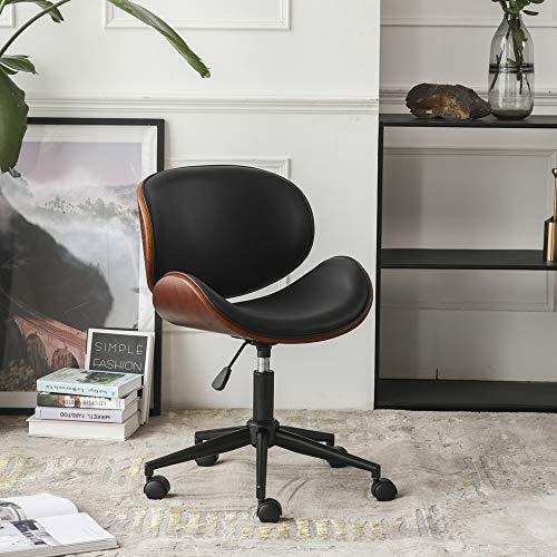 Jesskit Mid-Century Office Desk Chair Adjustable Black Leather Chrome Base Bent Plywood