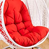 qwert Hanging Chair Cushion, Cradle Papasan Swing Chair Cushion Not-slip Basket Wicker Chair Pads Adult Rocking Indoor Balcony Pad Without Stand -red