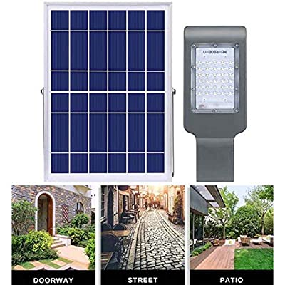 SZYOUMY Solar Street Flood Lights IP65 Outdoor Lamp 100W 5500 Lumens with Pole Remote Control Dusk to Dawn Security Lighting for Yard, Garden, Gutter, Pathway, Basketball Court, Arena