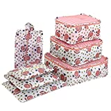 Organizador de embalaje de equipaje de viaje, Cubo de embalaje impresa flor impermeable Cubos, Bolsas de almacenamiento de calzado de vestir (Set de 7)