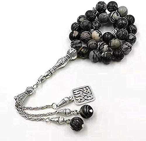 Aluyouqi Co.,ltd Necklace Natural Zebra Stone with Pendant Muslim Man Prayer Beads 33 Beads Arabic Rosary