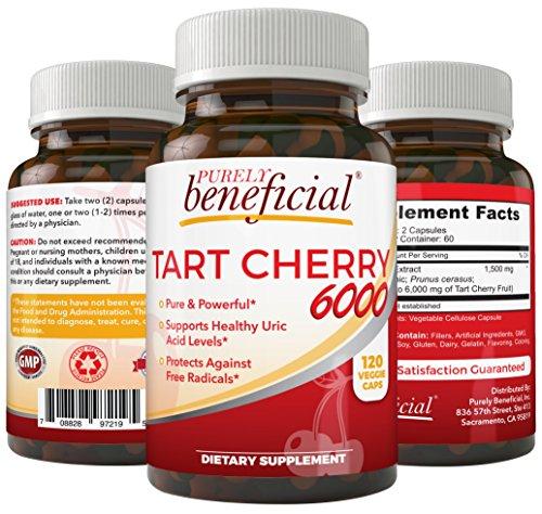 Tart Cherry Capsules 6000 mg - Montmorency Cherry, Extra Strength, Raw, Non-GMO, 120 Capsules(Vegetarian)