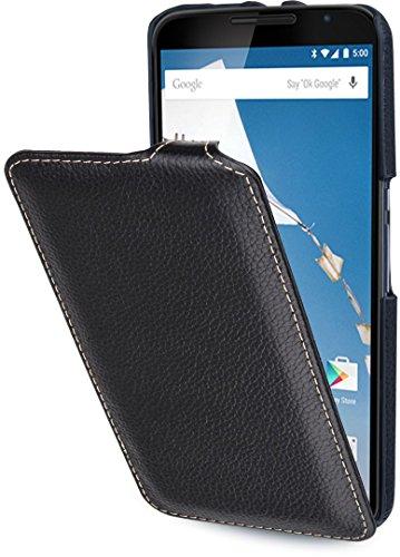 StilGut UltraSlim Case - ohne Magnet-, Hülle aus Leder für Google Nexus 6 und Motorola Nexus 6, schwarz